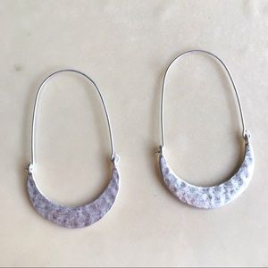 NEW Silver Beveled Crescent Dangle Hoops 🌙